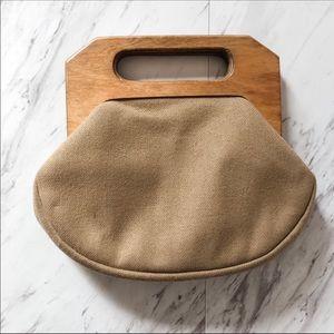 Vintage Ingber Wool & Wood Bermuda Bag